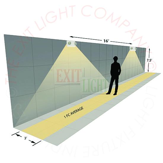 Compact LED Emergency Light | White Housing Photometrics