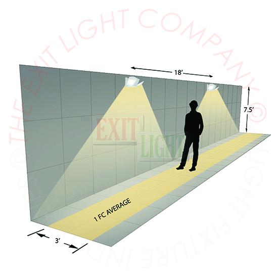LED Emergency Light | White or Black Housing | Adjustable Heads Photometrics