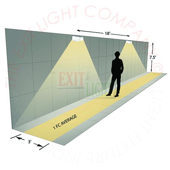 Standard Bright LED Emergency Light   White or Black Housing Photometrics