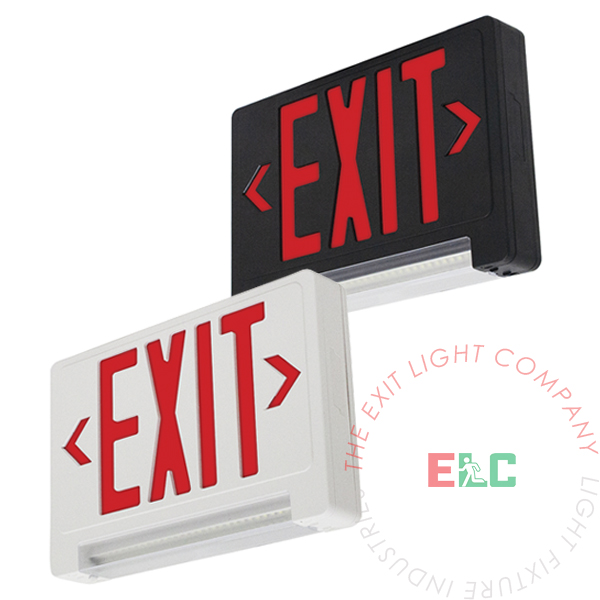 The Exit Light Co. - Ultra Bright Red Exit Sign w/ Emergency LED Light Bar Combo