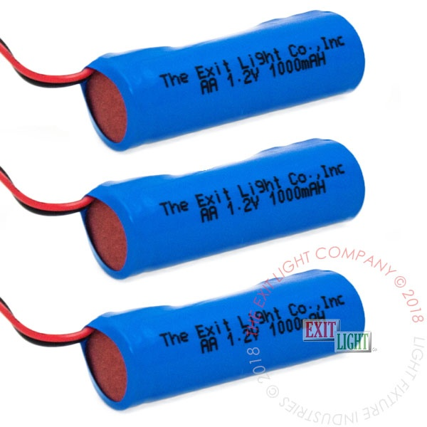 The Exit Light Co. - Battery AA NiCad 1.2V 1000mAH (3 Per Pack)