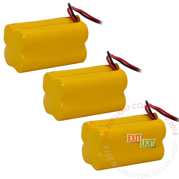 Battery AA NiCad 4.8V 900mAh - 2x2 Square (3 Per Pack)