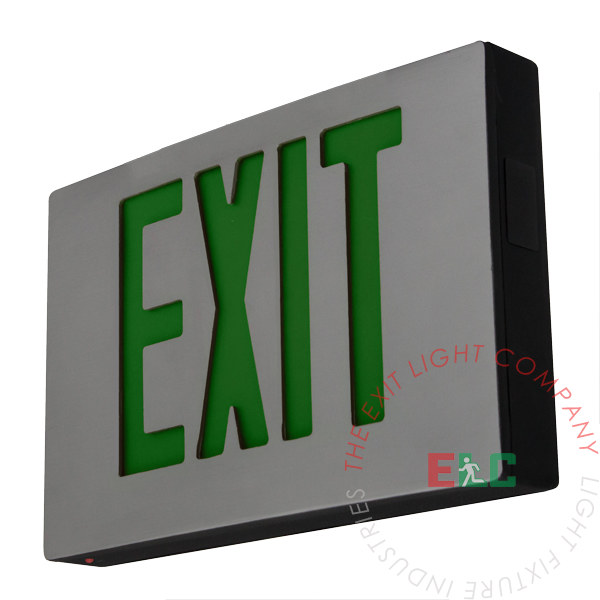 Cast Aluminum Green LED Exit Sign