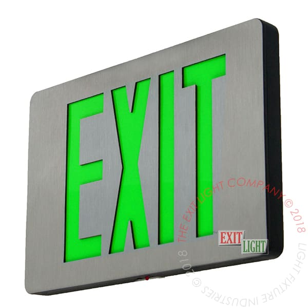 Ultra Thin Cast Aluminum Green LED Exit Sign