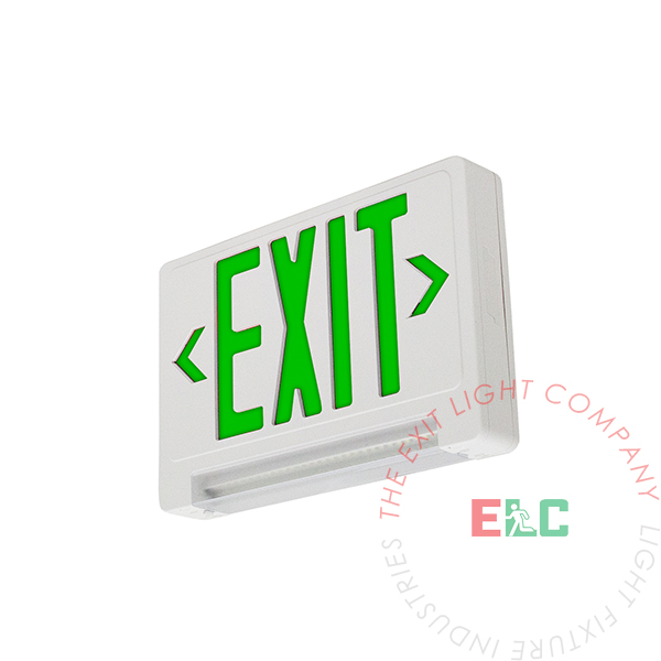 Ultra Bright Green Exit Sign w/ Emergency LED Light Bar Combo