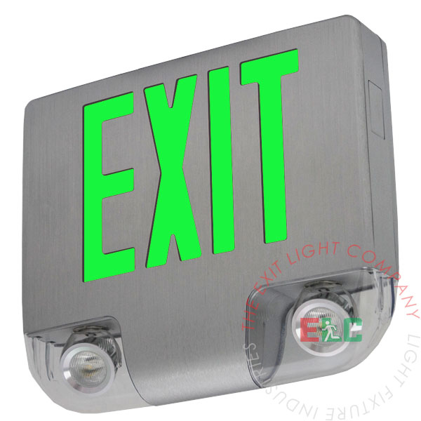 High End Cast Aluminum Green Exit Sign with Emergency Lights
