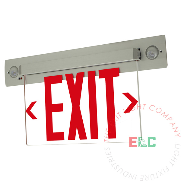 Combo Edge Lit LED Exit Sign | Recessed - Ceiling and Wall Mount | Adjustable LED Lamps