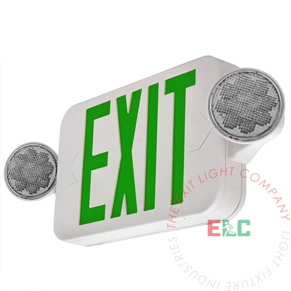Compact Green LED Exit Light Combo | High Output | 180° Adjustable Heads