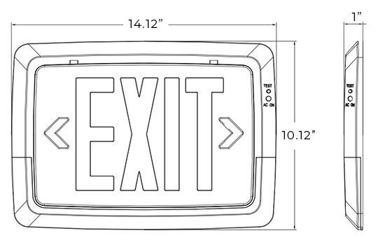 Low-Level All LED Exit Light Combo Dimensions