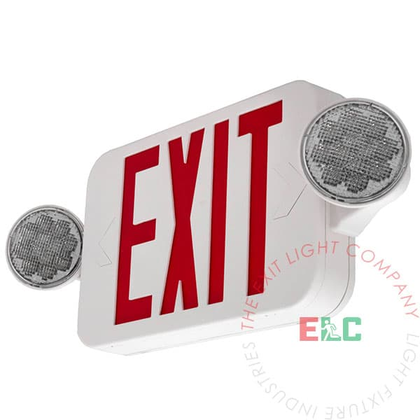 Compact Red LED Exit Light Combo | High Output | Adjustable Heads