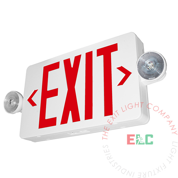 The Exit Light Co. - Compact Red LED Exit Light Combo | Adjustable Heads