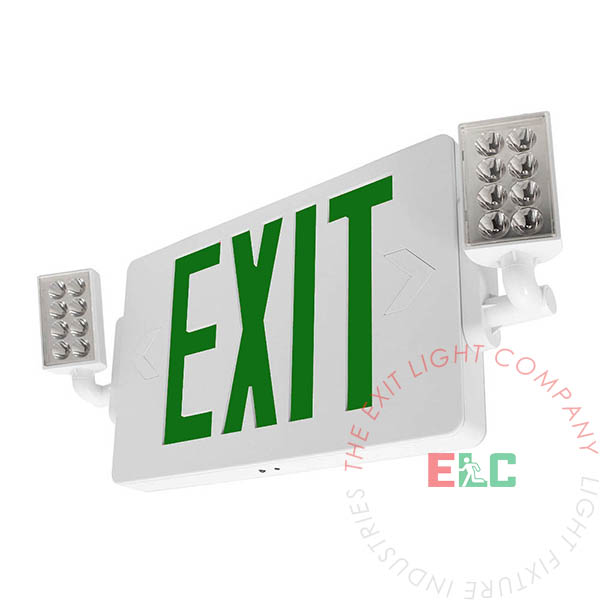 Green LED Thin Exit Light Combo | 300° Adjustable Lamp Heads