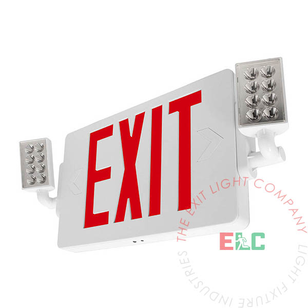 Red LED Thin Exit Light Combo | 300° Adjustable Lamp Heads