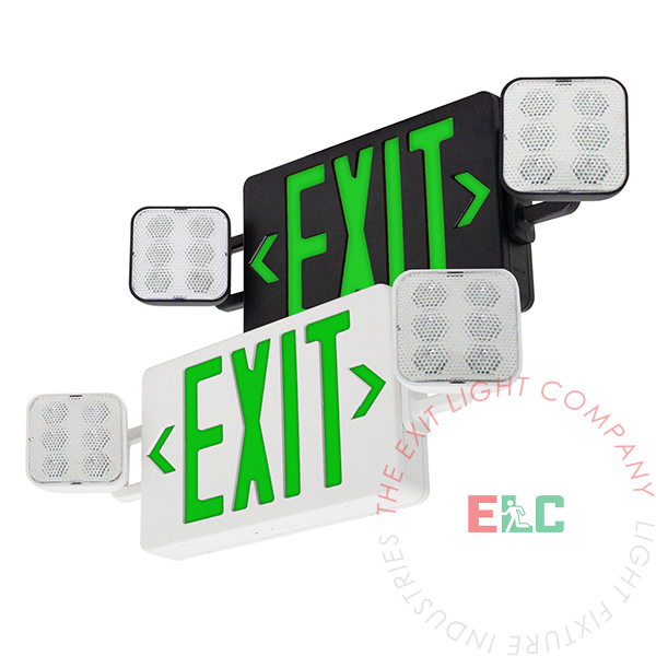 The Exit Light Co. - Large Green LED Exit Light Combo | Customizable | 180° Adjustable