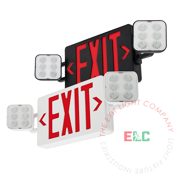 Large Red LED Exit Light Combo | Customizable | 180° Adjustable