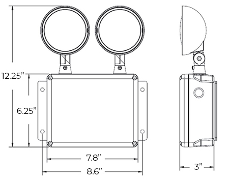 LED Weatherproof Emergency Light Dimensions