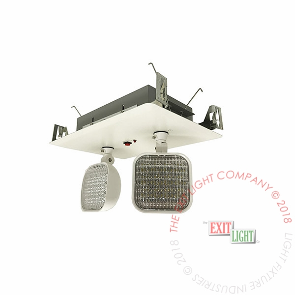 LED Steel Recessed Emergency Light | 2 Head | Remote Capable