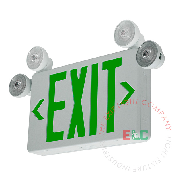 Extra Compact Green Exit Light Combo ALL LED Swivel Head