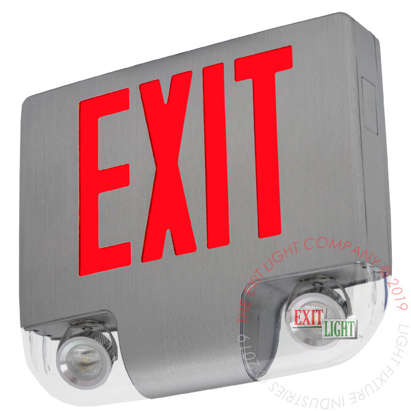 The Exit Light Co. - High End Cast Aluminum Red Exit Sign with Emergency Lights