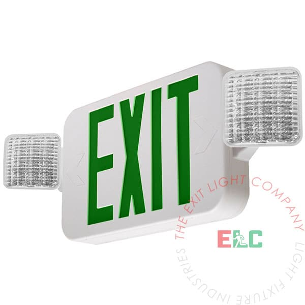 Standard Green LED Exit Light Combo | 180° Adjustable Head