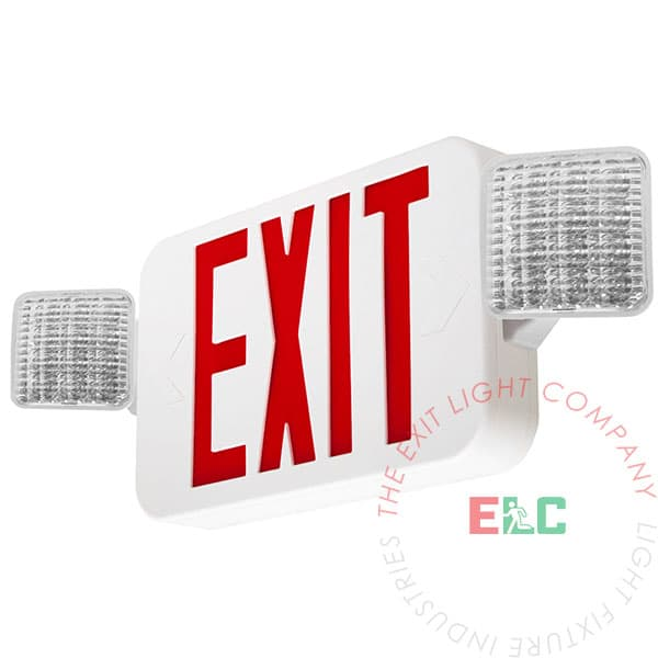 Standard Red LED Exit Light Combo | 180° Adjustable Head