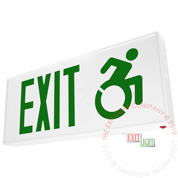 Connecticut Approved Green LED Exit Sign | Wheelchair Accessibility Symbol