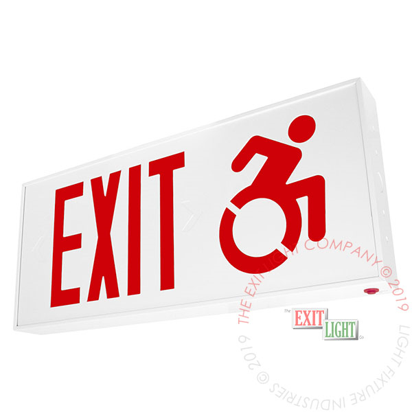 Connecticut Approved Red LED Exit Sign | Wheelchair Accessibility Symbol