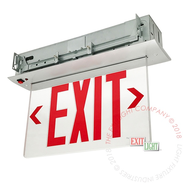 Edge Lit Red LED Exit Sign | Recessed Mount