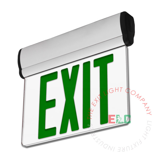 Edge Lit Green LED Exit Sign | Surface Mount | Adjustable Angle