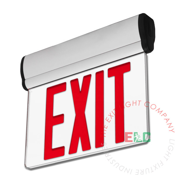 Edge Lit Red LED Exit Sign | Surface or Recessed Mount