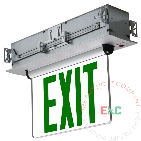 Edge Lit Green LED Exit Sign | Recessed Mount Assembly
