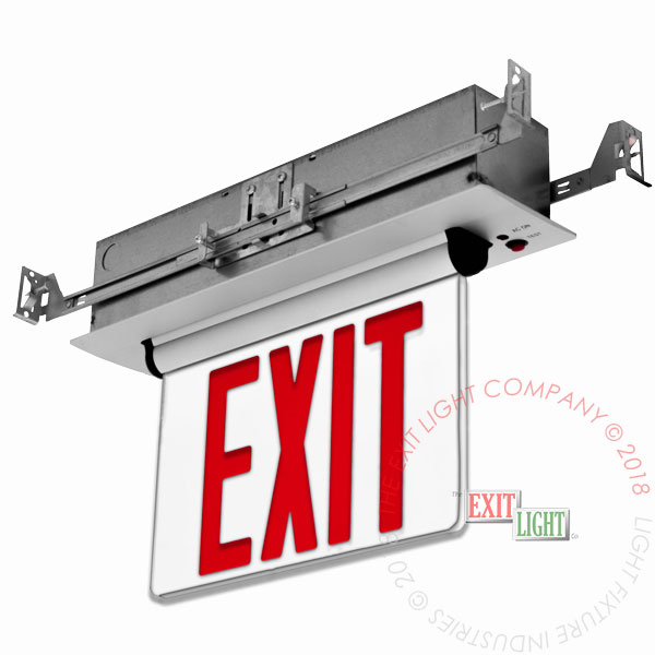 Edge Lit Red LED Exit Sign | Recessed Mount Assembly