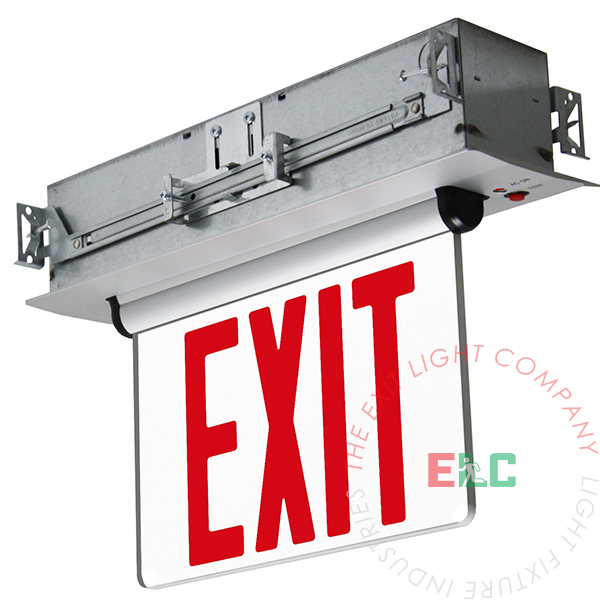 The Exit Light Co. - Edge Lit Red LED Exit Sign | Recessed Mount Assembly