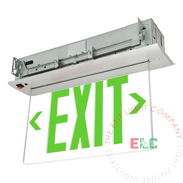 Edge Lit Green LED Exit Sign | Recessed Mount