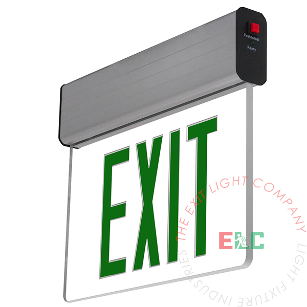 Aluminum Edge Lit Green LED Exit Sign | Surface Mount