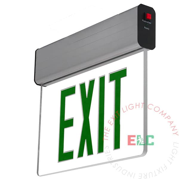 Aluminum Edge Lit Green LED Exit Sign | Surface or Recessed Mount
