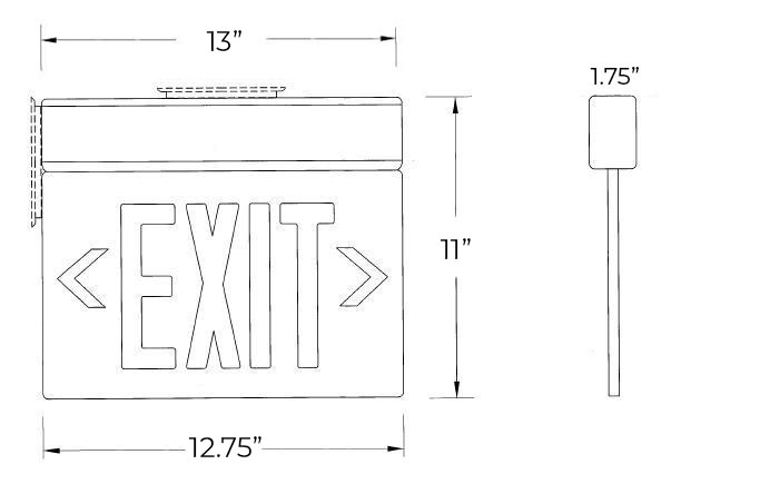 Aluminum Edge Lit Green LED Exit Sign | Surface Mount Dimensions