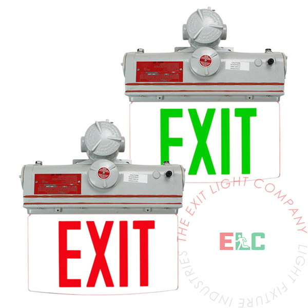 Explosion Proof Edge Lit Exit Sign | Red or Green LED | 4-6 Week Lead Time