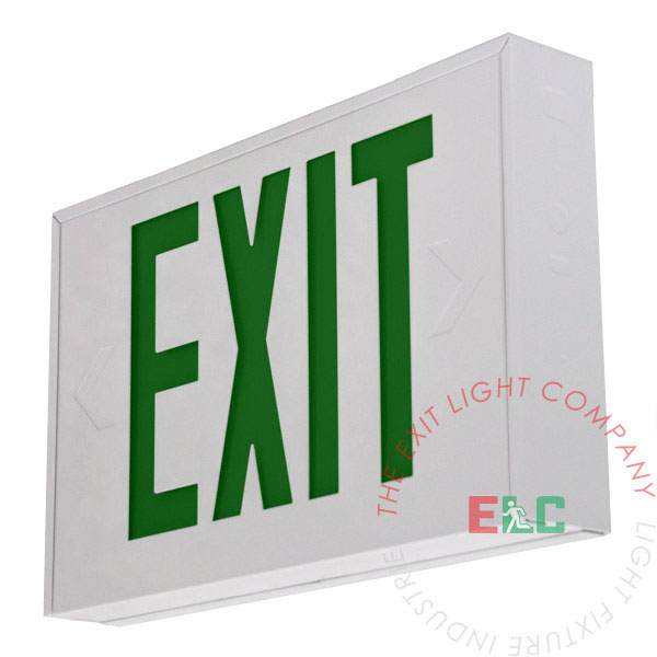 Steel Green LED Exit Sign - White Housing