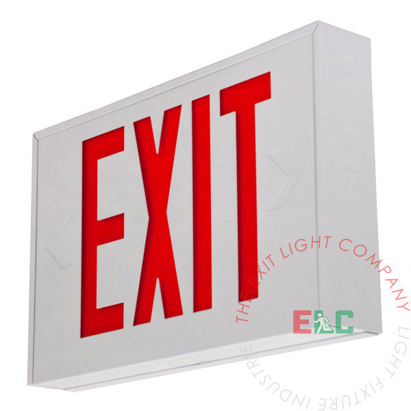 Steel Red LED Exit Sign - White Housing