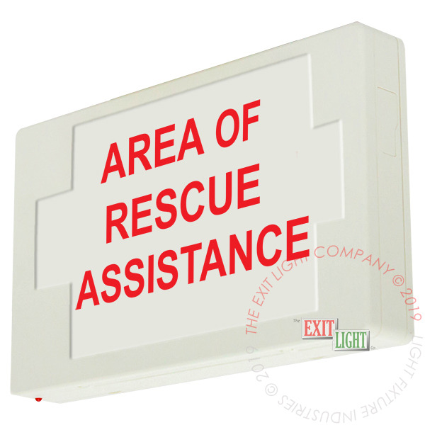 LED Exit Sign/Egress Sign, Plastic | Single Sided | AREA OF RESCUE ASSISTANCE