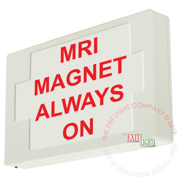 LED Exit Sign/Egress Sign, Plastic Sign | Single Sided | MRI MAGNET ALWAYS ON