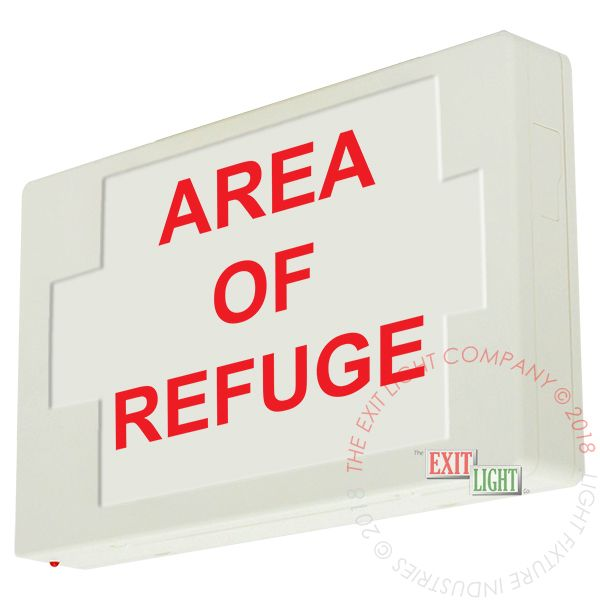 LED Exit Sign/Egress Sign, Plastic Sign | Single Sided | AREA OF REFUGE