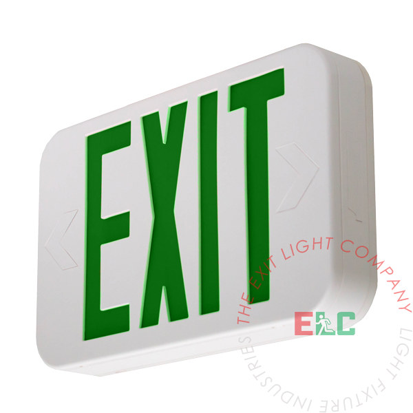 The Exit Light Co. - Modern Design Green LED Exit Sign | White Housing