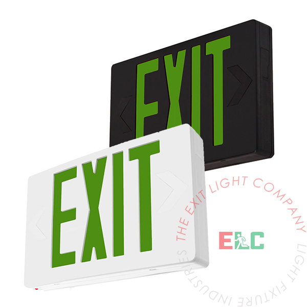 Standard Green LED Exit Sign | White or Black Housing