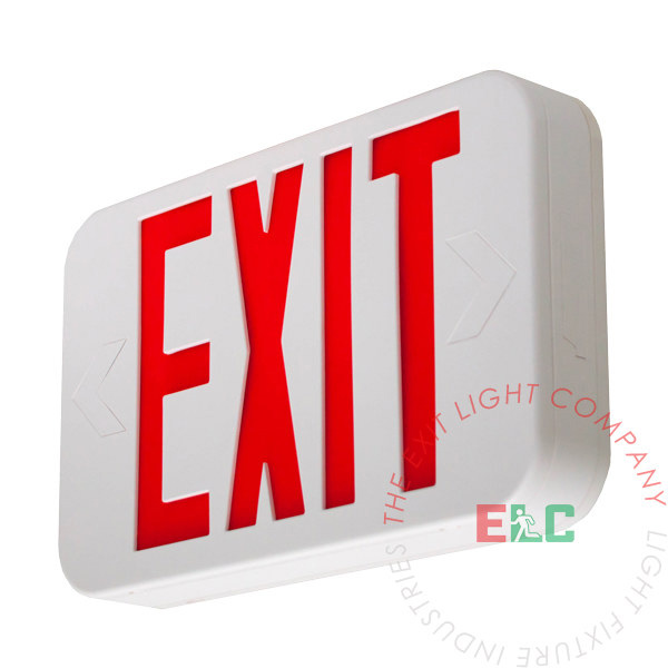 Modern Design Red LED Exit Sign | White Housing