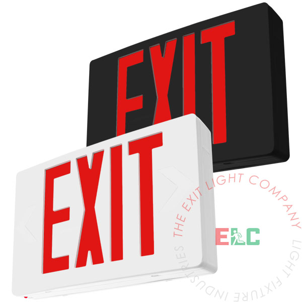 The Exit Light Co. - Standard Red LED Exit Sign | White or Black Housing