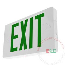 Thin Green LED Exit Sign - White Housing