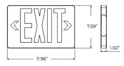 Thin Green LED Exit Sign - White Housing Dimensions