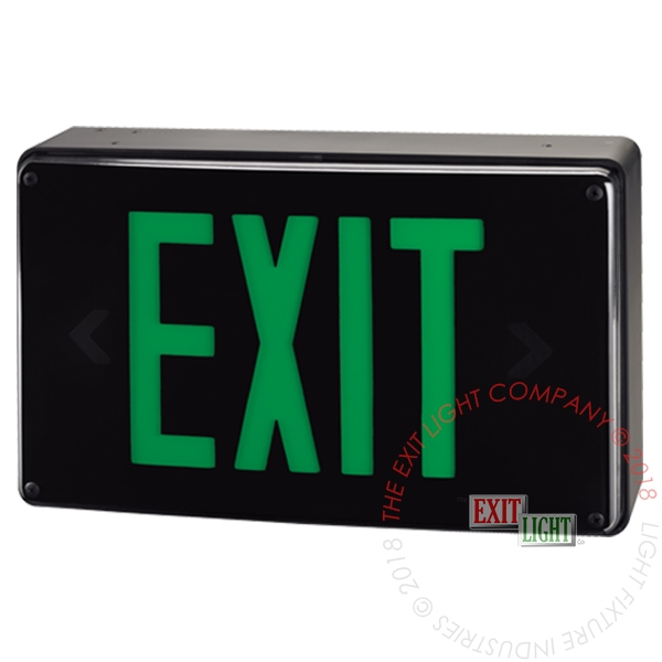 Vandal Resistant Green LED Exit Sign | Wet Location